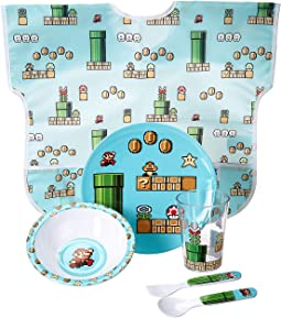 Nintendo 8-Bit Mario Five-Piece Melamine Set w/ Bib