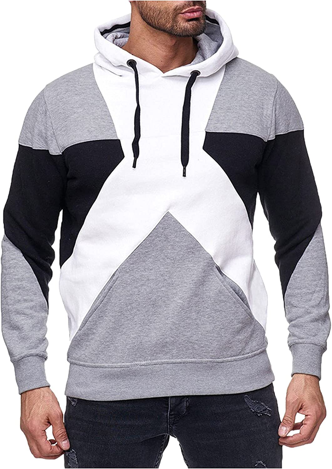 HONGJ Patchwork Hoodies for Mens, 2021 Fall Athletic Casual Drawstring Slim Fit Workout Sports Hooded Sweatshirts