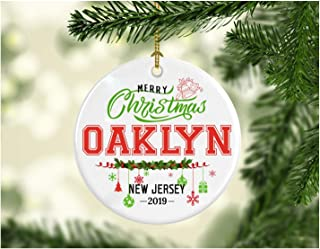 Christmas Decorations Tree Ornament - Gifts Hometown State - Merry Christmas Oaklyn New Jersey 2019 - Gift for Family Rustic Christmas Tree Ceramic 3 Inches White