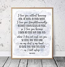 I Love You Without Knowing Pablo Neruda 100 Love Sonnets Wedding Quotes Love Poem Print Romantic Quote Love Poetry Wood Plaque Home Decor