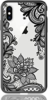 HUIYCUU Case Compatible with iPhone X Case, Totem Henna Lace Flower Slim Fit Case Soft Border Matte Hard Back Cover Girls Paisley Design for iPhone Xs 5.8 inches,Black Mandala
