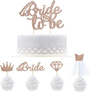 25 Rose Gold Glitter Bride To Be Cake Topper Cupcake Toppers with Diamond,Crown,Bride,3D Wedding Dress Cupcake Toppers for Bridal Shower Supplies, Engagement, Bachelorette Party Decorations