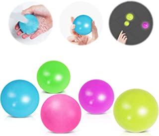 Hot Bee 5 PCS Sticky Wall Balls Stress Relief Balls Luminescent,Tear-Resistant Washable Squishy Ceiling Ball,Stress Relief...