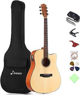Donner DAG-1CE Guitar Acoustic Electric Cutaway 41 '' بسته کامل گیتار ساخته شده در مقدمه با رشته تنظیم تسمه کیف