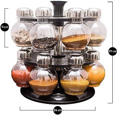 Designer ABS Multipurpose Revolving Spice Rack 16 Piece Condiment Set, 300ml, Siver Finish, Clea Metal, Multicolour