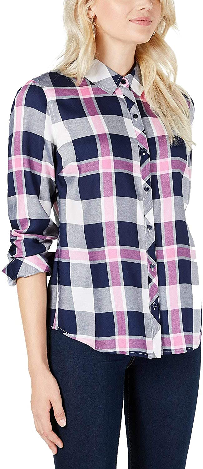 Maison Jules Womens Plaid 売却 Relaxed ラッピング無料 Fit Shirt Button Up