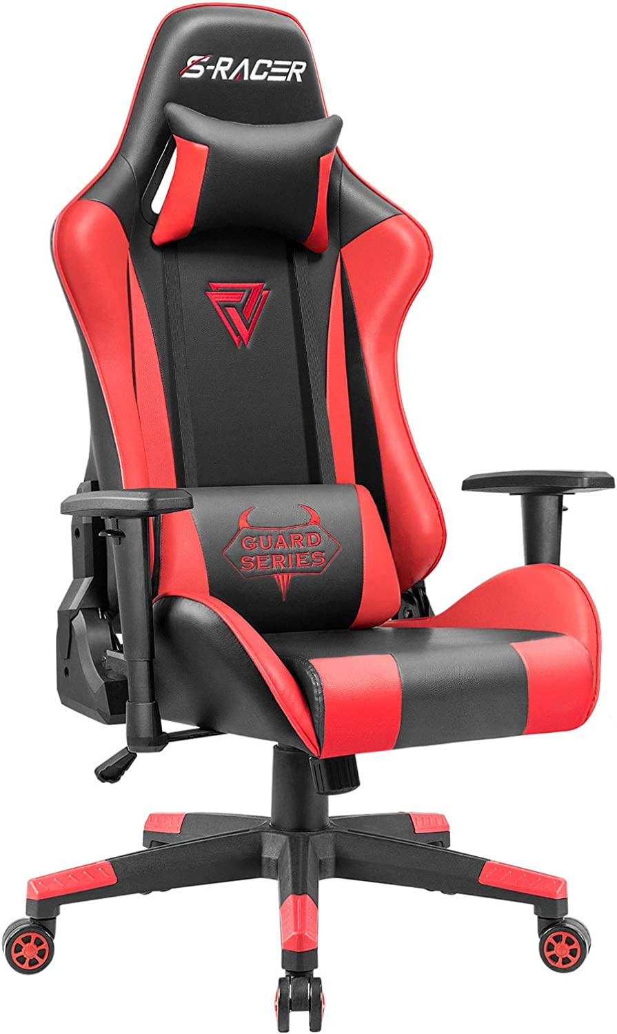Homall Racing Gaming Chair Ergonomic High-Back Chair Premium PU Leather Bucket Seat,Computer Swivel Lumbar Support Executive Office Chair (Red)