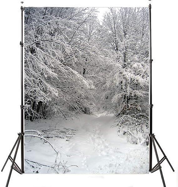 5x7ft Weiß Schnee Fotografie Hintergrund Winter Bäume Kamera