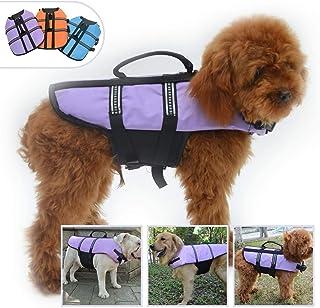 YOMI Chaleco salvavidas para perros Bulldog inglés, mediano y seguro para nadar en barco y perro nadar proteger, chaleco reflectante para mascotas salvavidas, color azul