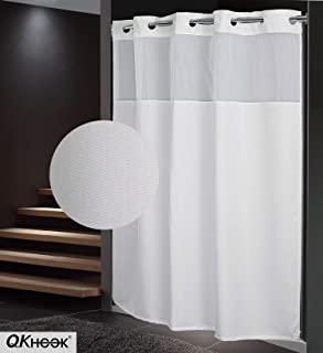 QKHook Hookless Shower Curtain with Snap in Liner 1 Pack 71x74 Inches Plain Pattern Fabric Water-Repellent