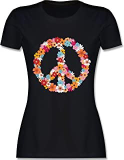 Statement Shirts - Peace Flower Power - Damen Tshirt und Frauen T-Shirt