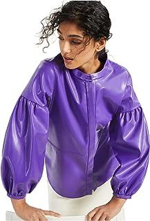 ALFANI Womens Purple Mandarin Collar Blouse Party Top AU Size:10