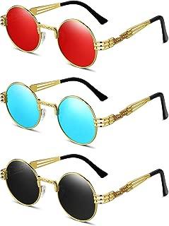 3 Pairs Round Retro Sunglasses Steampunk Sunglasses Metal Frame Hippie Glasses