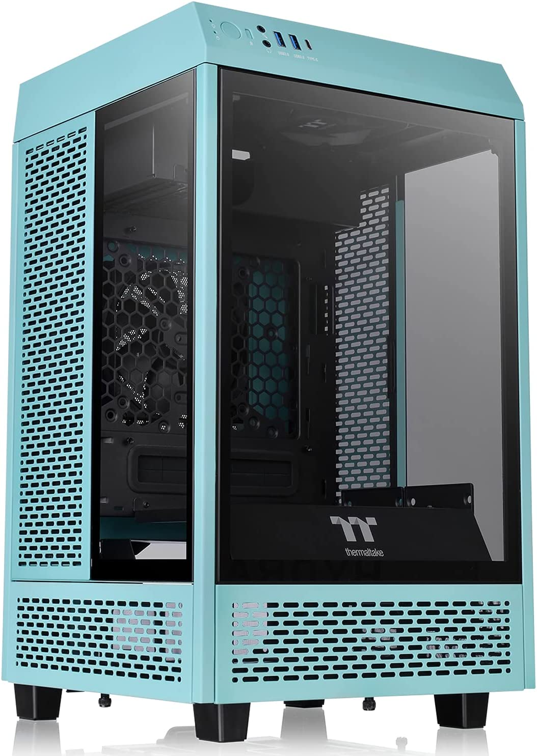 Thermaltake Tower 100 Turquoise Edition Tempered Glass Mini Tower Computer Chassis Supports Mini-ITX CA-1R3-00SBWN-00