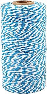 100M Natürlicher Baumwolle Schnur Bindfäden,2MM Blau und Weiß Bastelschnur Garten Schnur zum Geschenkeverpacken