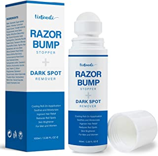 VieBeauti Razor Bump Stopper and Dark Spot Remover - Eliminate Razor Burn, Ingrown Hairs and Folliculitis with Natural Botanical Treatment - Roll On After Shave Serum for Women and Men (3.38 fl oz)