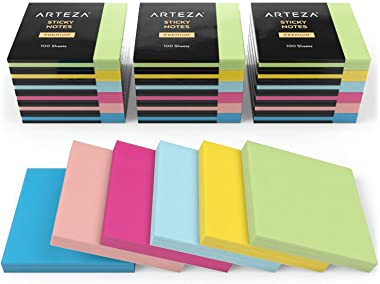 ARTEZA 3x3 Inches Sticky Notes, 24 Pads, 100 Sheets Per Pad, Bulk Pack, Assorted Colors, Re-Adhesive, Clean Removal, for Reminders, Studying, Office, School, and Home