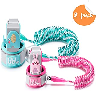 Anti Lost Wrist Link,Toddles Safety Wrist Leash,Anti Lost Rope Walking Harness with Key Lock,Parent-Child (Cyan/8.2 ft and Pink/4.9 ft)