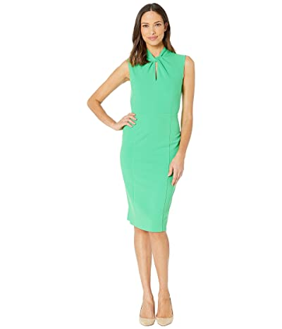 Donna Morgan Sleeveless Crepe Dress with Tie Knot Front (Green Crush) Women