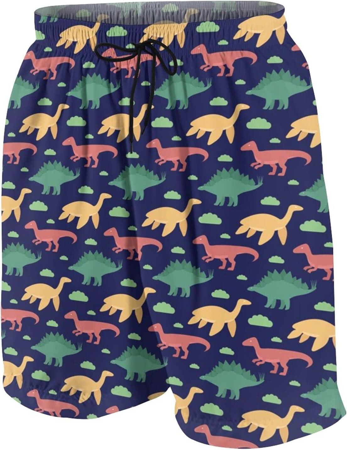 KAETZRU Boys Swim Trunks Beach Board Shorts Dinosaur Cartoon Dino Pattern Kids Summer Swimsuit