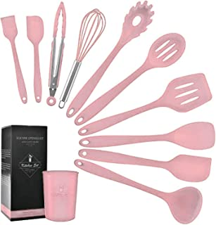 with Colorful Box MeterMall Home Decor Gifts 11pcs//Set 9pcs//Set Solid Wood Handle Pink Silicone Kitchenware with Storage Bucket 11pcs//Set