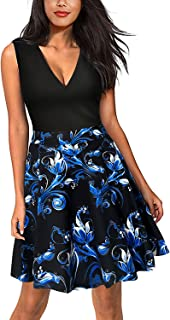 Nemidor Women's Casual Fit and Flare Floral Contrast Cocktail Party Mini Dress