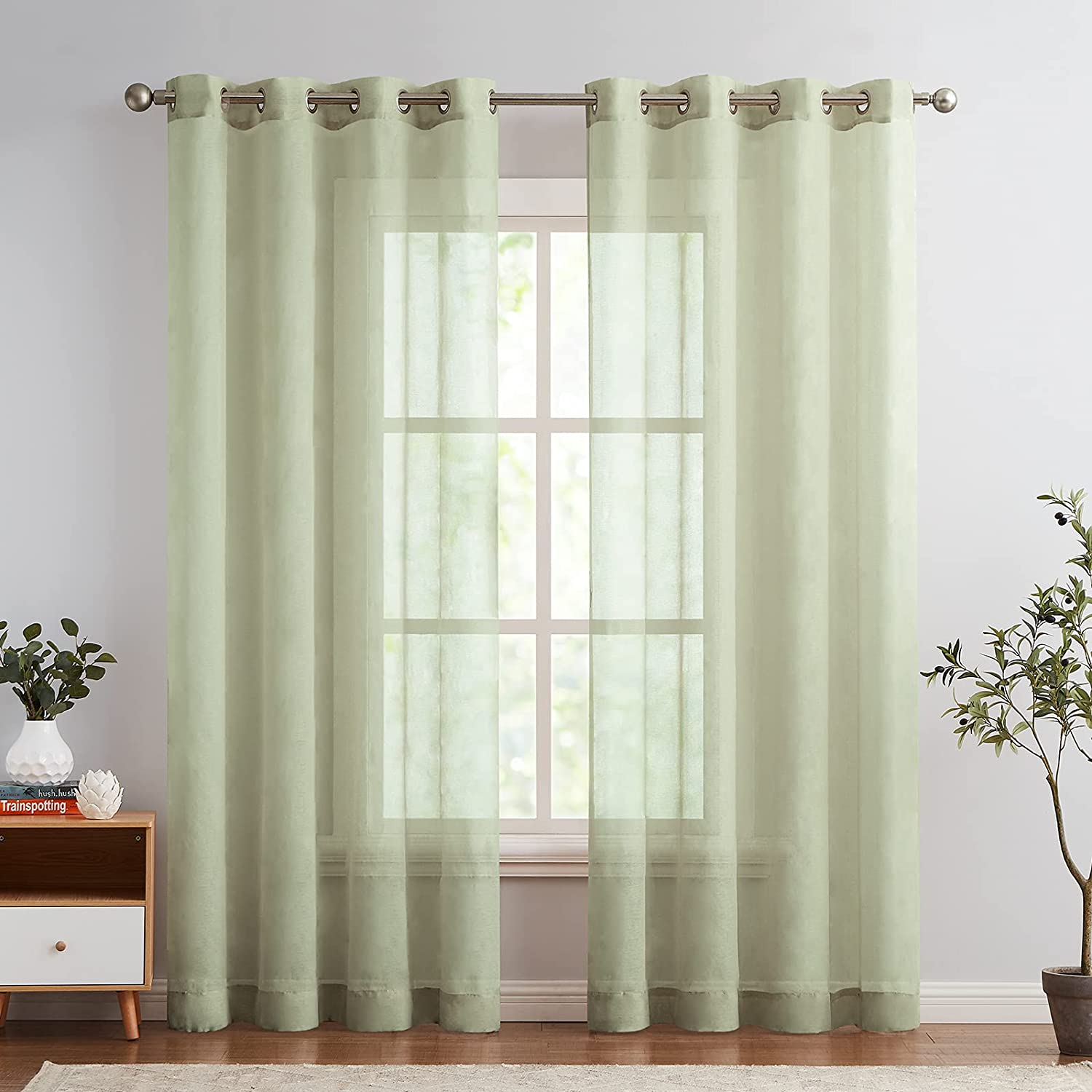 Over item handling Lazzzy Voile Sheer New Orleans Mall Curtains for Top Dr Grommet Room Living