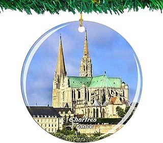 Weekino フランスシャルトル大聖堂クリスマスオーナメントシティ旅行お土産コレクション両面 磁器2.85インチ ぶら下がっている木の装飾