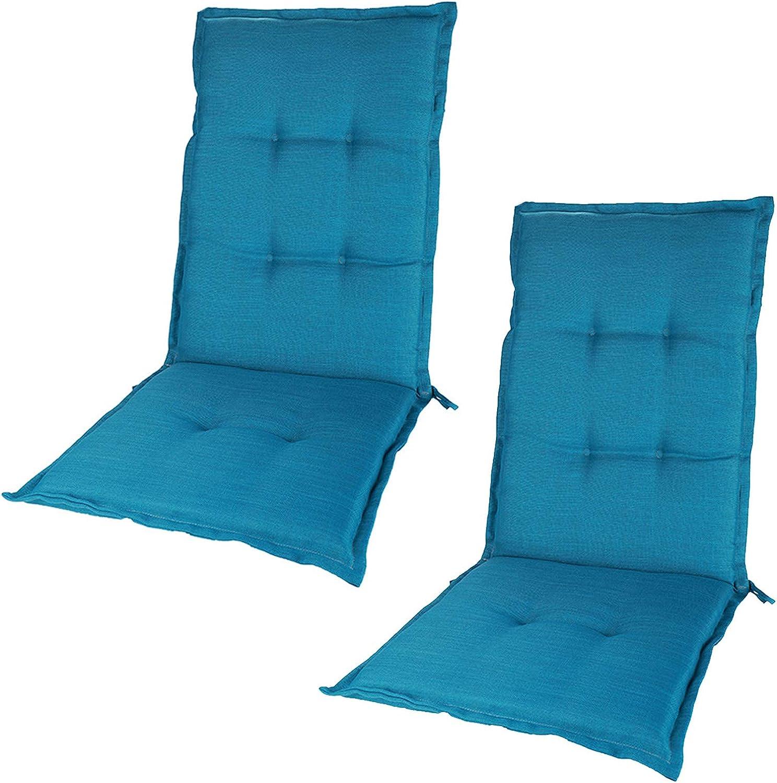 Cojín Para Silla Con Respaldo Alto, Cojín De Silla De Jardín Reclinable, Cojín De Asiento Impermeable Para Cenas Al Aire Libre Y En Interiores, 120 X 50 X 5 Cm,Azul,2 Pcs