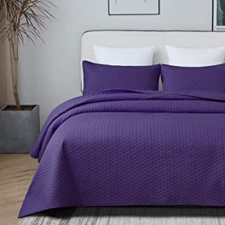 VEEYOO Quilt Set Coverlet Queen - Soft Microfiber Lightweight Coverlet Quilt for All Season, 3 Pieces Queen Quilt Set Bedspread (1 Quilt, 2 Pillow Shams, Purple)