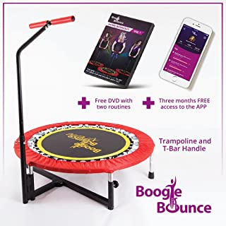Boogie Bounce Mini Adult Fitness Trampoline with Adjustable T-bar Stability Handle. 350 lbs Max Weight. HIIT Workout DVD and Mobile App.