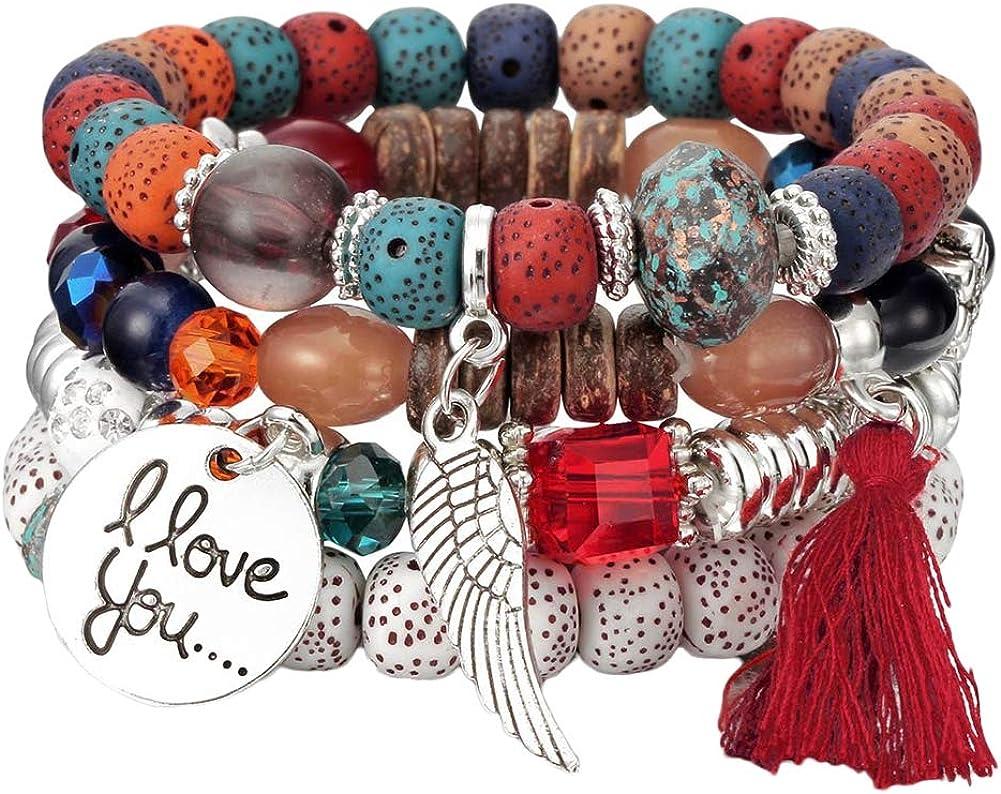 MileHouse Fashion Bangle Bracelet for Women Girls,4Pcs/Set Bohemia Style Wing Beads Bracelet Bangle Party Gift - Colorful