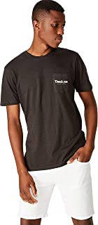 Cotton On Men's Graphic T-shirt, Washed Black/Thank You Pocket