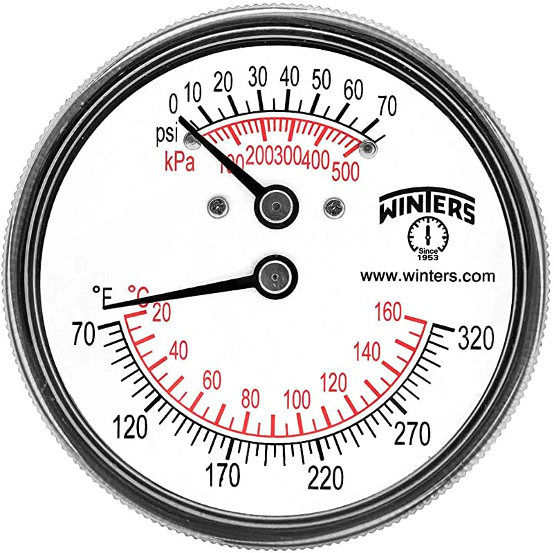 Winters TTD Series Steel Dual Scale Tridicator Thermometer With 2 Stem 0 75psi Kpa 2 1 2 Dial Display 3 2 3 Accuracy 1 4 NPT Extension Back 70 320 Deg F C