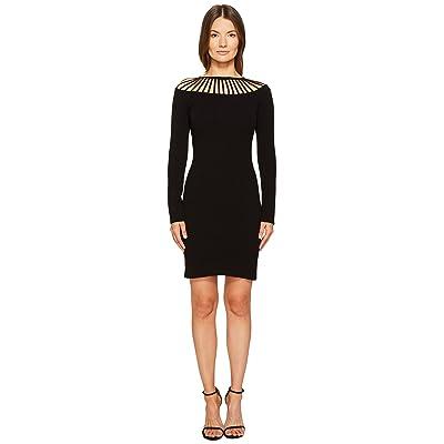 Boutique Moschino Long Sleeve Cut Out Neck Dress (Black) Women