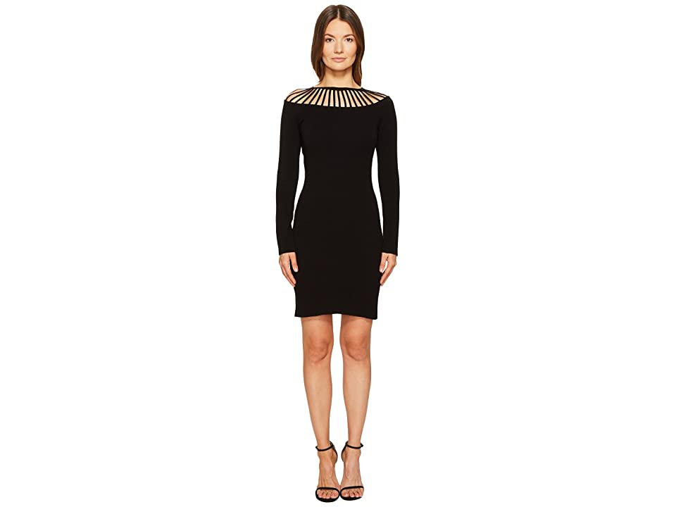 Boutique Moschino Long Sleeve Cut Out Neck Dress (Black) Women