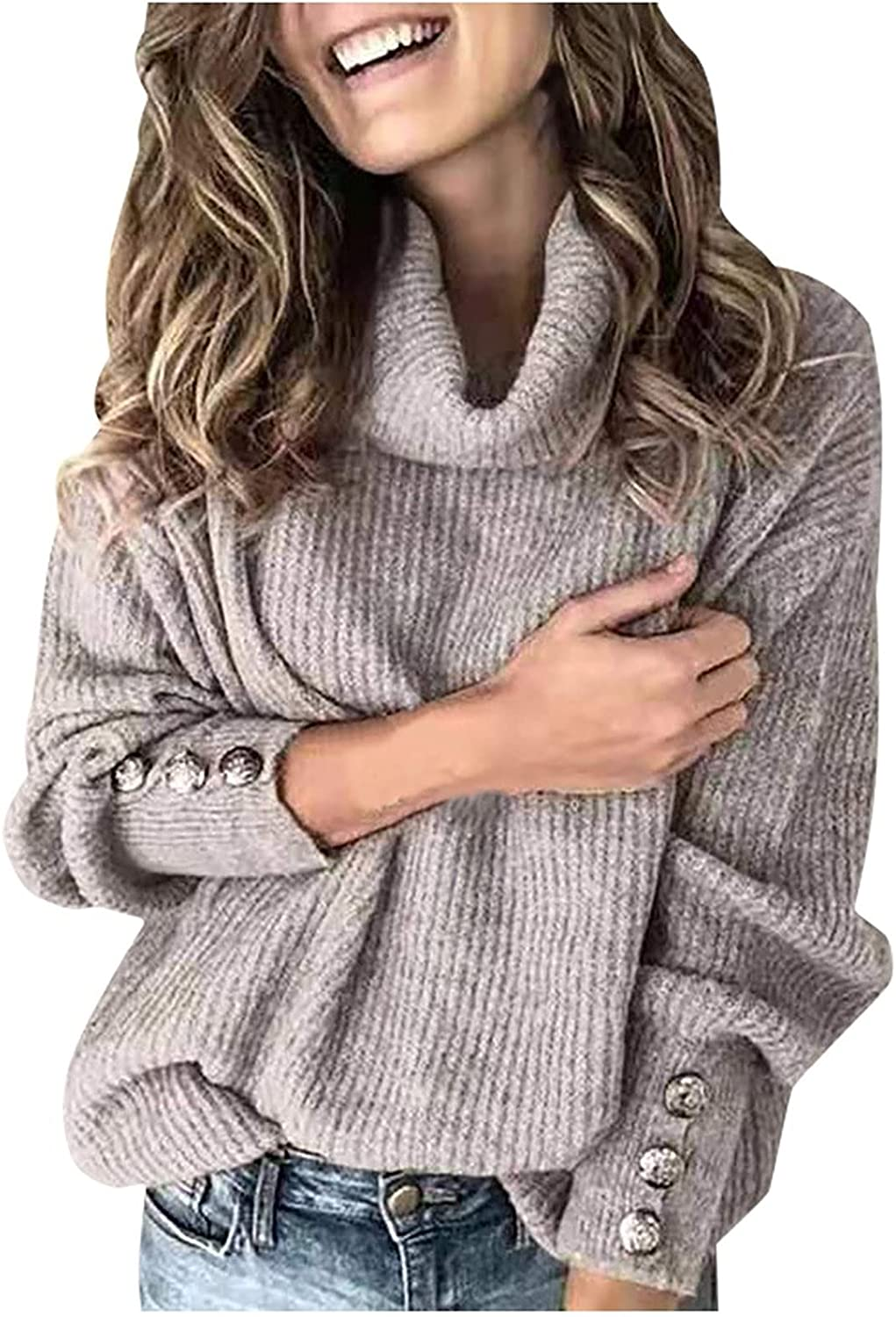 Women's Turtleneck Batwing Sleeve Sweater Loose Oversized Chunky Knitted Pullover Lightweight Soft Jumper Tops