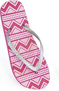 FLOSO Ladies/Womens Aztec Print Flip Flops With Glitter Straps