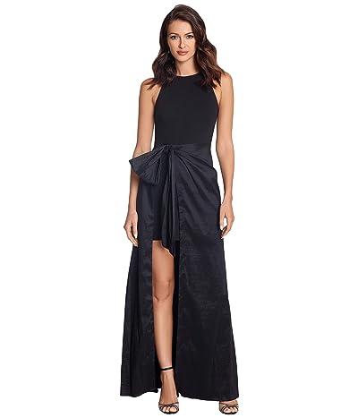 Betsy & Adam Long Halter Gown with Taffeta Wrap Skirt