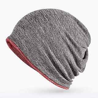Autumn Winter Women Hat Keep Warm Men Hedging Cap Two Ways to Use Skullies Beanies Knitted Knitting Cotton Turban Caps Bonnet,Gray,L