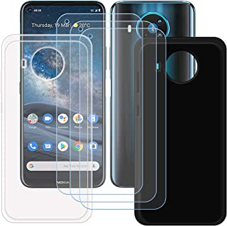 FZZ Black and Transparent Case + 3 x Tempered Glass for Nokia 8.3 5G, Screen Protector Protective Film and Gel Flexible TP...