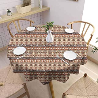 EMODFJCXZ Camping Picnic Round Tablecloth Tribal Indigenous Art Horizontal Borders with Flying Birds and Geometric Elements Machine Washable D50 Orange Brown Beige