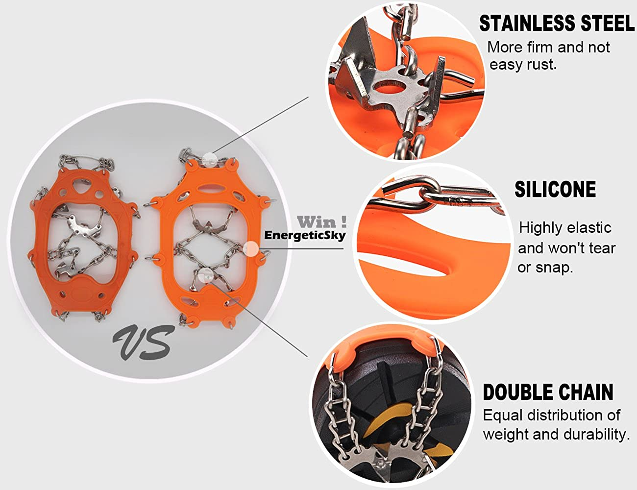 EnergeticSky Upgraded Version of Walk Traction Ice Cleat Spikes Crampons,True Stainless Steel Spikes and Durable Silicone,Boots for Hiking On Ice /& Snow Ground,Mountian.