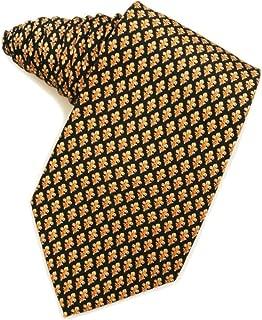 Men's 100% Silk Classic Navy Blue & Gold Fleur De Lis Tie Necktie