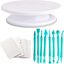 Bulfyss Cake Turntable Revolving Cake Decorating Stand Cake Stand 28cm, 8pc Fondant Tools and 4pc Cake Side Scrapers (Made in India)