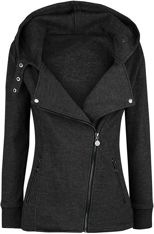 Amaeen Coats for Womens Fashion Lapel Hooded Zipper Pocket Jacket Sweatshirt Loose Long Sleeve Soft Casual Overcoat