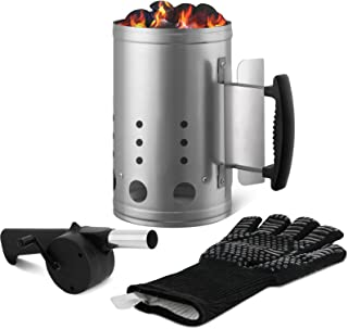 Charcoal Chimney Starter Set Charcoal Chimney Lighter Can A 1472℉ Heat Resistant Grill Glove Portable BBQ Fan Air Blower O...