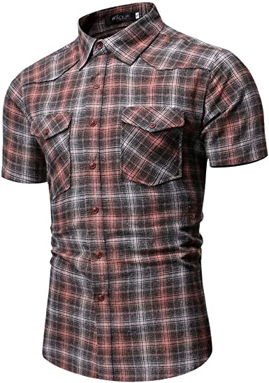 Yue668 - Camisa de cuadros cepillada para hombre de verano ...
