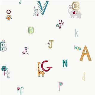 York Wallcoverings Peek-A-Boo Alphabet and Animal Removable Wallpaper, Off White/Red/Orange/Mediu Green/Teal/Deep Blue
