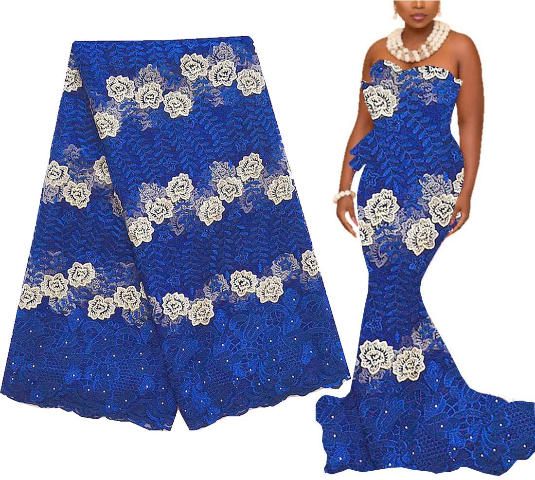 Dallas Mall Max 79% OFF WorthSJLH African Lace Fabric 5 Yards Blue Tul Royal French 2020